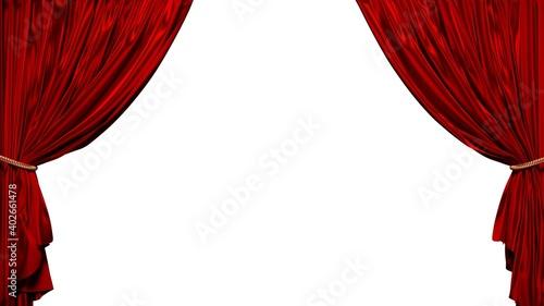 Tela 背景がない赤いカーテンの3Dイラスト
