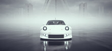 White Powerful Sci-Fi Style Supercar Driving Fast Over Wet Surface With Abandoned Brutalist Architecture Buildings In The Distance 3d Illustration