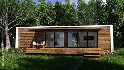 Fotografia tiny house in the woods