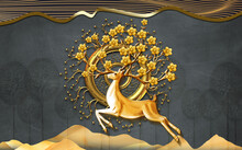 3d Brown Mural Wallpaper . Golden Circle With Head Of Deer And Branches Of Flowers . Golden Waves Lines In Black Background .