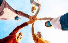 College Students Teamwork Stacking Hands - New Normal Lifestyle Concept With People Covered By Face Mask Helping Each Other