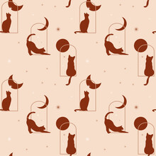 Seamless Pattern With Cat Silhouettes In Windows With The Moon, Sun, And Stars. Modern Fantasy Background In Beige And Terracotta Colors