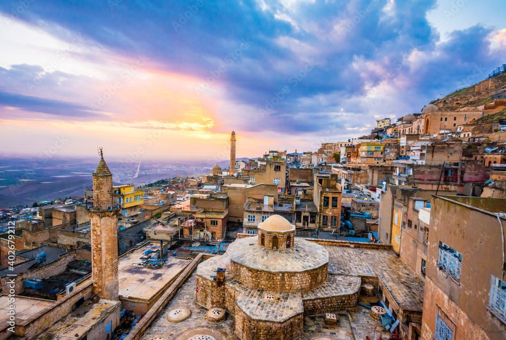 Fototapeta Mardin City sunset view in Turkey