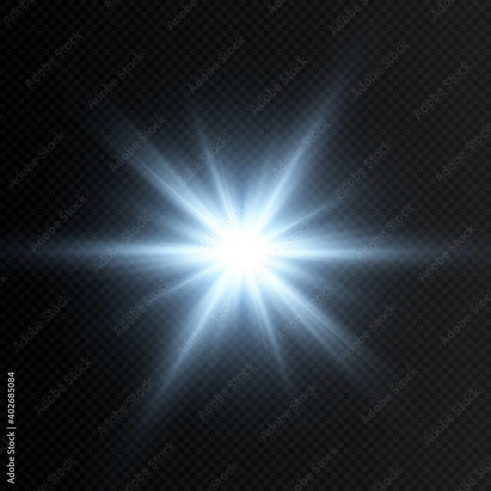 Fototapeta Vector blue glow. Magic glow, blue light, rays, blue flash png. Spark, star png. Vector image.