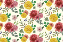 Seamless Floral Pattern With Flowers Anemone In Vintage Watercolor Style And Decor Of Golden Texture. Vector Illustration On White Background.