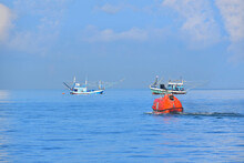 Lifeboat Or Rescue Boat Testing Quality Checking In The Sea Offshore Oil And Gas Installations During Inspection And Maintenance.