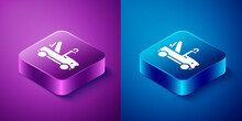 Isometric Tow Truck Icon Isolated On Blue And Purple Background. Square Button. Vector.