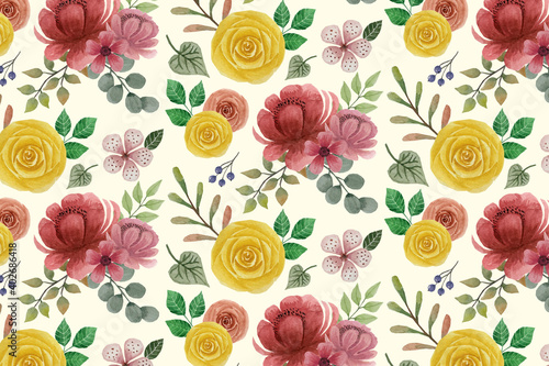 Obraz na plátně Seamless floral pattern with flowers Anemone in vintage watercolor style and decor of golden texture