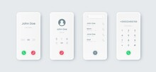 Phone Call UI. Incoming Touchscreen Interface Mockup With Dial. Communication Smartphone Application Display Design With Phone Book And Numbers Or Buttons. Modern Mobile Screens Templates, Vector Set