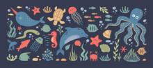 Sea Animals. Doodle Ocean Underwater Inhabitants. Colorful Marine Fish And Dolphins, Octopus Or Turtle. Isolated Jellyfish And Seahorses Swim Among Algae And Air Bubbles. Vector Undersea Fauna Set