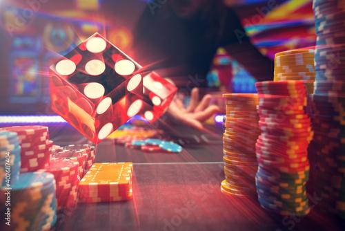 Canvas Man gambling at the craps table