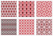 Slavic Folk Embroidery Seamless Patterns Set
