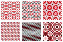 Slavic Folk Embroidery Seamless Patterns Set