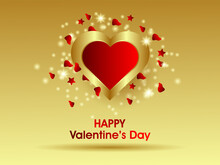 Happy Valentine's Day Banner With A Realistic Gold Heart Decorated With Glitter