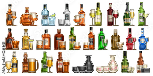 Tela Vector Alcohol Set, variety cut out illustrations of hard spirit drinks in bottl