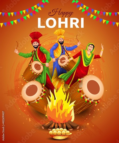 Fotomural Happy Lohri festival of Punjab India background