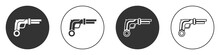 Black Vintage Pistols Icon Isolated On White Background. Ancient Weapon. Circle Button. Vector.