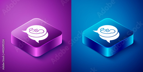 Fotografiet Isometric Baby icon isolated on blue and purple background