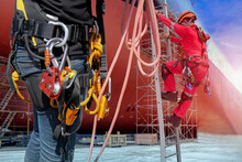 A Safety Harness Is A Form Of Protective Equipment Designed To Protect A Person, Damage. The Harness Is An Attachment Between A Stationary With Worker Wear The Safety Harness And PPE Fixed L