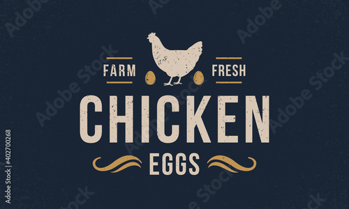 Fotografia Chicken eggs logo, poster with grunge texture