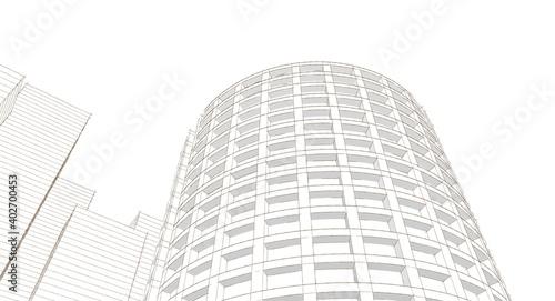 Photo 3d render of a modern building