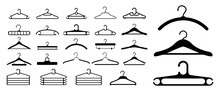 Set Of Clothes Hangers Or Clothes Hangers Isolated On White Background Or Illustration Of Clothes Hangers Black White Style. Eps 10 Vector, Easy To Modify