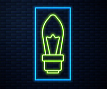 Glowing Neon Line Light Bulb With Concept Of Idea Icon Isolated On Brick Wall Background. Energy And Idea Symbol. Inspiration Concept. Vector.