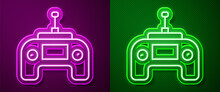 Glowing Neon Line Drone Radio Remote Control Transmitter Icon Isolated On Purple And Green Background. Vector.