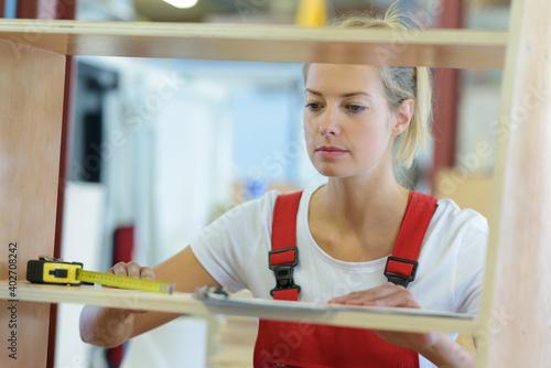 a female carpenter at work