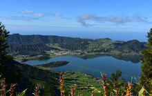 View Down To The Lakes At Sete Cidades In Sao Miguel