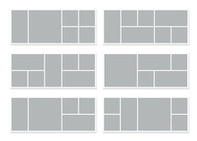 Templates Collage Frames For Moodboard, Banners And Photo Gallery. Vector Mockup Of Rectangle Mosaic Grid Of Pictures Isolated On White Background
