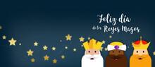 Feliz Dia De Los Reyes Magos. Tarjeta Banner Plantilla