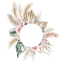 Watercolor Boho Exotic Round Frame. Tropical Dried Palm Leafe, Roses, Pampas Grass Geometric Frame. Romantic Bohemian Floral Frame