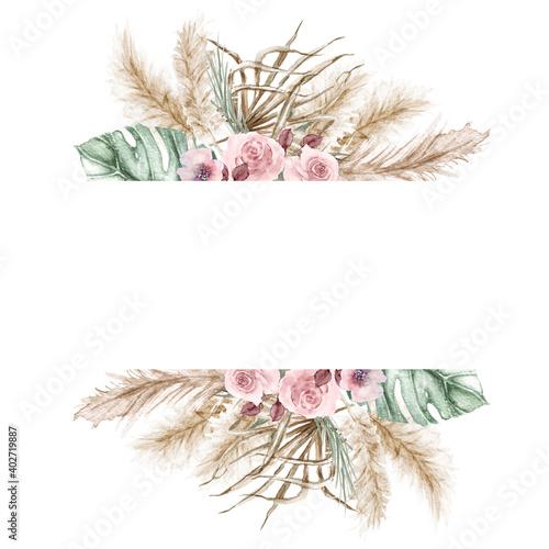 Slika na platnu Watercolor boho exotic border beige frame