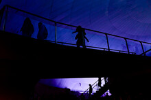 Silhouettes Of People Against The Light Inside An Oceanographic Park Admiring The Fish.