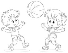 Happy Little Kids Playing, Running And Catching A Big Ball On A Playground, Black And White Outline Vector Cartoon Illustration For A Coloring Book Page