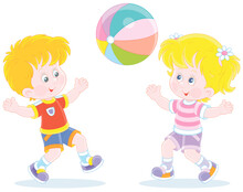 Happy Little Kids Playing, Running And Catching A Big Colorful Ball On A Playground, Vector Cartoon Illustration Isolated On A White Background