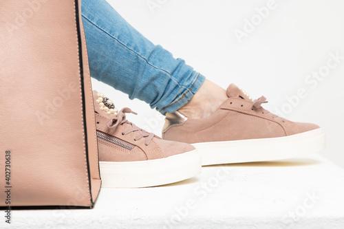 Obraz modern women's shoes in spring colors - fototapety do salonu