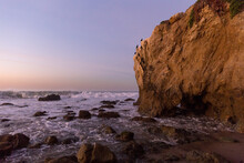 Cormorants On Cliff At Sunrise In Malibu, California