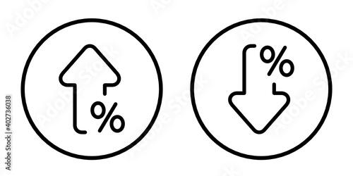 Obraz procent w dół i w górę ikona - fototapety do salonu