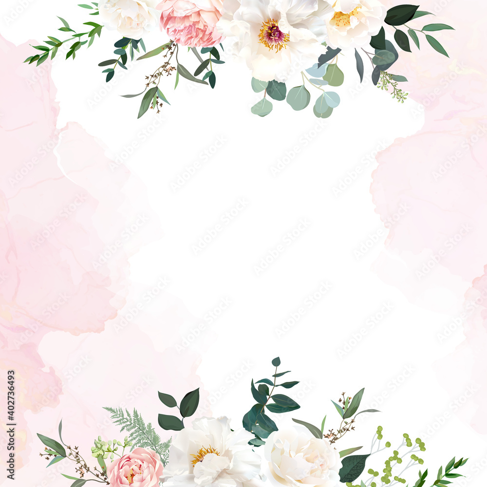 Fototapeta Retro delicate wedding card with pink watercolor texture and flowers