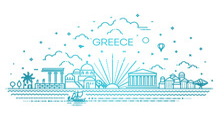 Greece Skyline, Vector Illustration In Linear Style