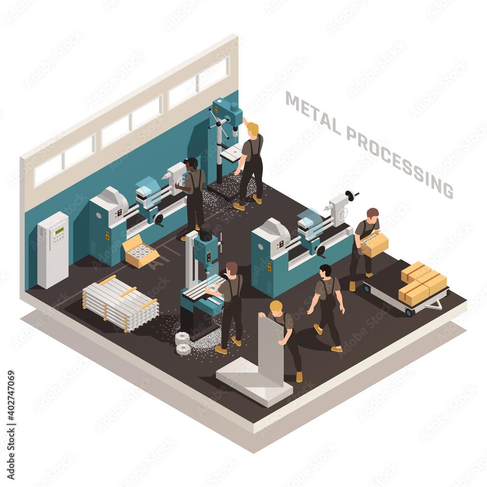 Fototapeta Metalworking People Isometric Composition