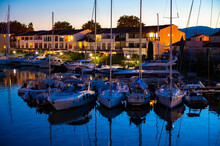 Travel And Vacation Destination, View On Houses, Roofs, Canals And Boats In Port Grimaud, Var, Provence, French Riviera, France