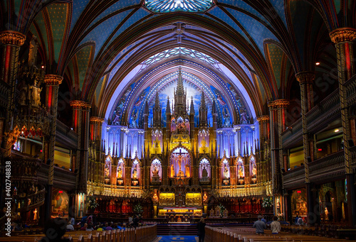 Montreal, Quebec, Canada - July 26, 2018: Notre-Dame Basilica of Montreal interior ilumnation.