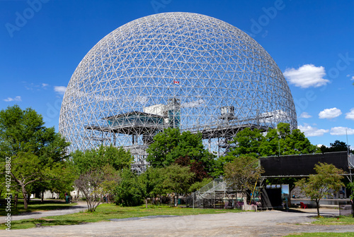 Montreal, Quebec, Canada - June 25, 2019: The Biosphere Dome an Museum dedicated to the environment. It is located at Parc Jean Drapeau, on Saint Helen's Island in Montreal, Quebec, Canada