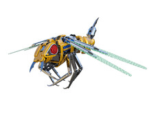 Mechanical Wasp Robot Isolated On The White Background. High Resolution Clip Art For Developing Futuristic Scenes. 3d Rendering, 3d Illustrations.