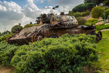 Rusty Tank In A Park In Tehran, Iran.