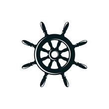Ship Rudder Silhouette Vector Illustration. Sailing, Maritime Transport Hand Drawn Monocolor Symbol. Antique Rudder, Steering Wheel Monochrome Drawing. Old Fashioned Marine Travel, Captain Helm