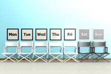 Row Of Chairs With Days Of The Week Concept,